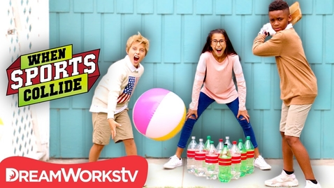 Thumbnail for entry WHEN SPORTS COLLIDE   Beach Ball Bowling (Cricket + Bowling)