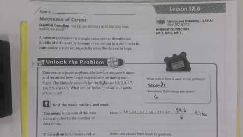 Thumbnail for entry 6th Grade Math 12.6 Measures of Center - Wednesday April 29