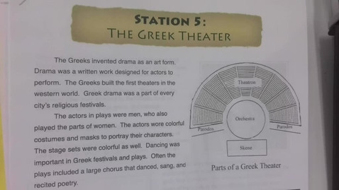 Thumbnail for entry 6th Grade Social Studies - April 30 - Greek Drama, Theater, Art and Architecture