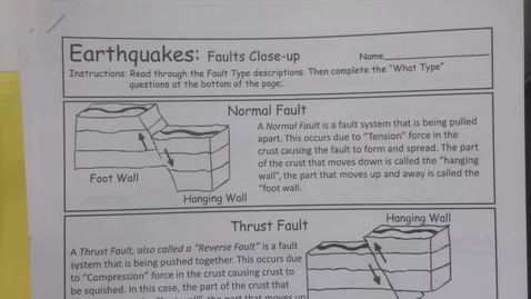 Thumbnail for entry 6th Grade Science - Monday April 27 - Earthquakes, faults and the Mercalli Scale