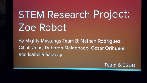 Thumbnail for entry Zoe Robot STEM Research Project