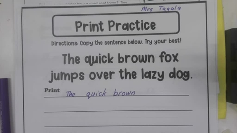 Thumbnail for entry Handwriting - Tuesday September 1 - 5th Grade