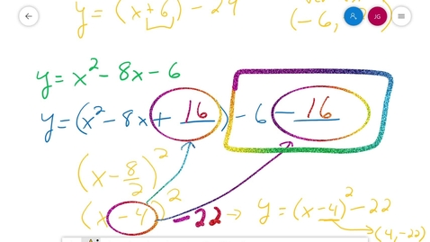 Thumbnail for entry Algebra 1 Completing the Square Part III Solving