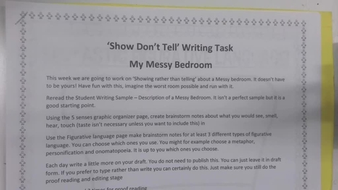 Thumbnail for entry 6th Grade Show don't Tell writing Task - My Messy Bedroom
