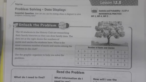 Thumbnail for entry 6th Grade Math 12.8 - Problem Solving - Data Displays May 1