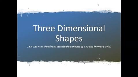 Thumbnail for entry Math Mini Lesson 3D Shapes 4_27