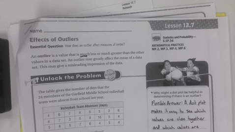 Thumbnail for entry 6th Grade Math - 12.7 Effects of Outliers Thursday April 30