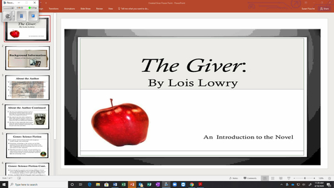 Thumbnail for entry The Giver - Intro. power point-video