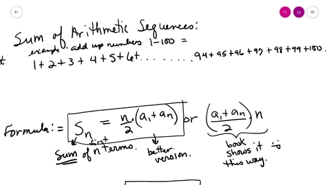 Thumbnail for entry alg2 8-2 B sums of arithmetic seq