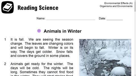 Thumbnail for entry Reading Science-Animals in Winter