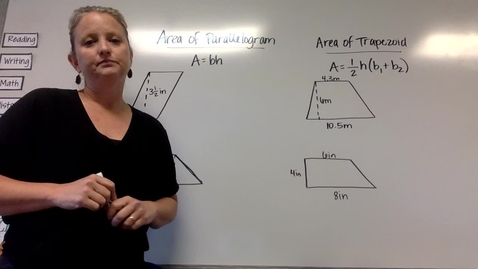 Thumbnail for entry Area of Parallelograms and Trapezoids (Tuesday, April 14)