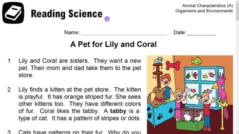 Thumbnail for entry Reading Science-A Pet for Lily and Coral