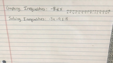Thumbnail for entry Mr.  Lamarre's Extra Help: Inequalities Review