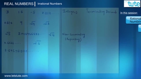Thumbnail for entry 05 - Irrational Numbers And Proof Of Root 2 Is Irrational