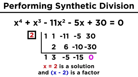 Thumbnail for entry Solving Higher-Degree Polynomials With Synthetic Division and the Rational Roots Test