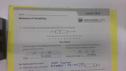 Thumbnail for entry 6th Grade Math - 13.4 - Measures of variability -  Part 2 - Thursday May 14