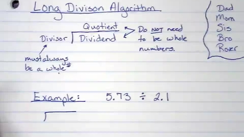 Thumbnail for entry Long Division Instructions