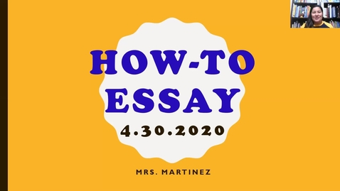Thumbnail for entry Mini Writing Lesson on How-To Essay_4/30/20