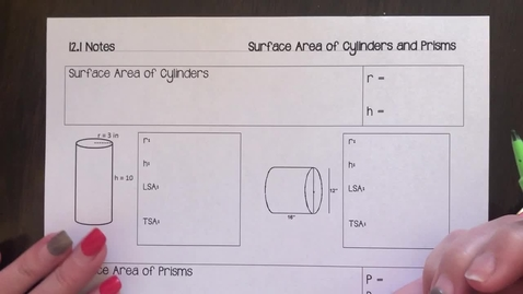 Thumbnail for entry 12.1 Surface Area of Cylinders and Prisms notes