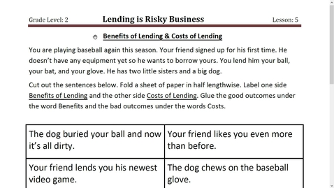 Thumbnail for entry Activity 5 Benefits of Lending and Costs of Lending