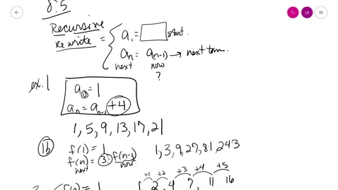 Thumbnail for entry alg2 8-5 Recursive Equations Notes.mp4