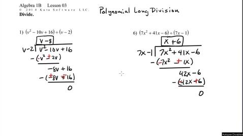 Thumbnail for entry Algebra 1B Lesson 03 #9, 11  Polynomial Long Division