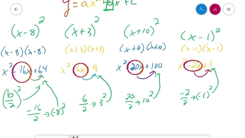 Thumbnail for entry Algebra 1 3.7 Completing the Square Part II