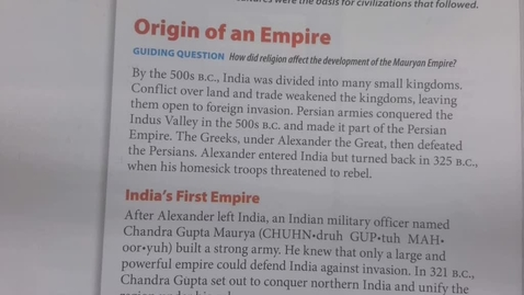Thumbnail for entry  6th Grade Social Studies - The Mauryan Empire - Wednesday May 20