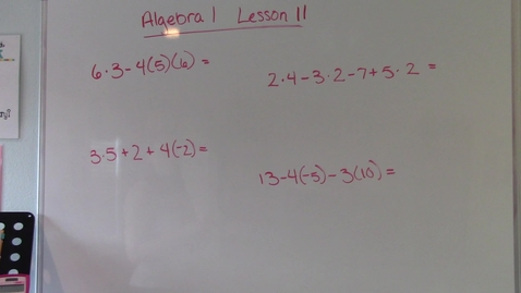 Thumbnail for entry Algebra 1 - Lesson 11 - Order of Operations