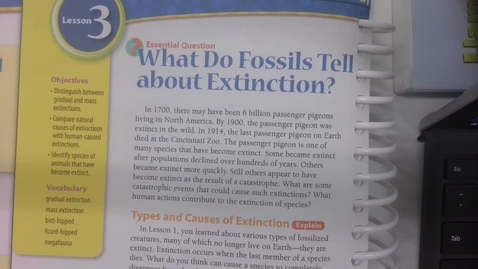 Thumbnail for entry 6th Grade Science - Lesson 3  - What do fossils tell about extinction? - Tuesday May 26