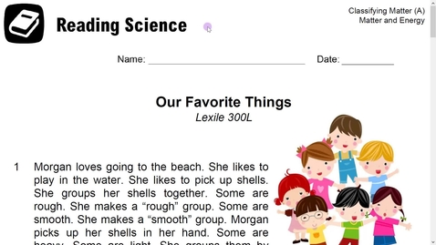 Thumbnail for entry Stemscopes- Reading Science Our Favorite Things