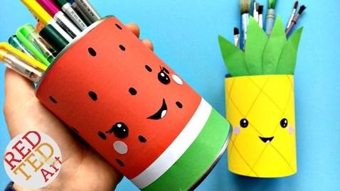 Thumbnail for entry Easy Melon Pencil Holder DIY - School Supplies