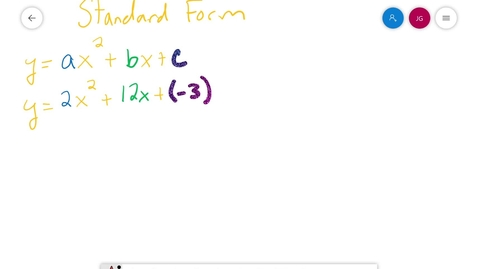 Thumbnail for entry Algebra I Finding a Vertex from Standard Form