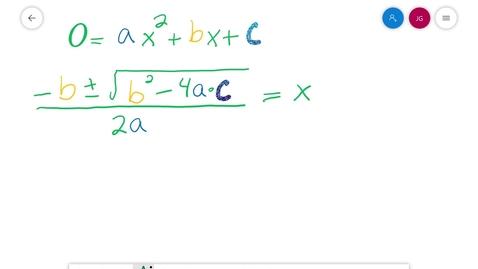 Thumbnail for entry Algebra 1 3.8 Quadratic Forumula Part 2