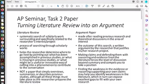 Thumbnail for entry 3.20 AP Seminar, Argument Methods