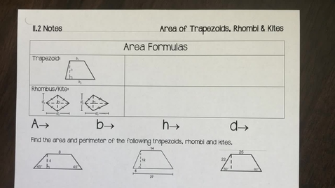 Thumbnail for entry 11.2 part 1 notes Area and Perimeter of Trapezoids