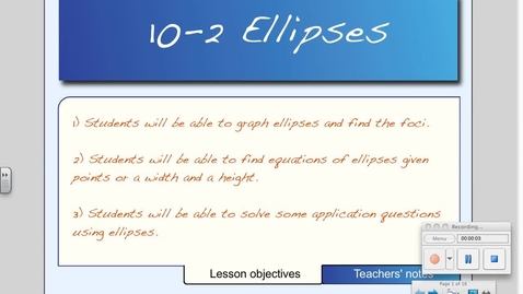 Thumbnail for entry 10-2 Ellipses
