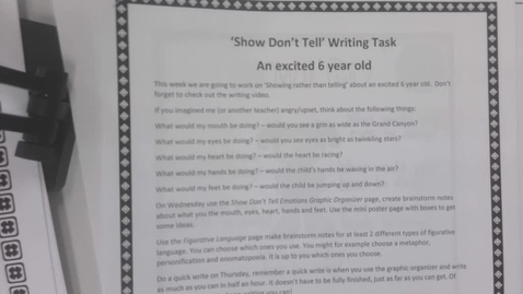 Thumbnail for entry 6th Grade Writing - April 28 and 29. Show =, don't tell and excited 6 year old