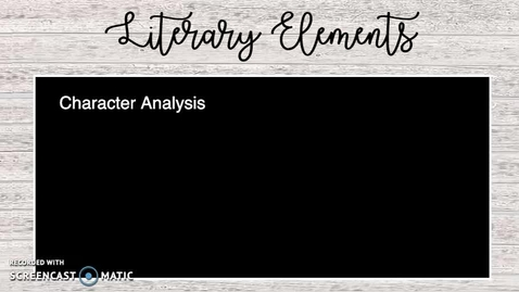 Thumbnail for entry Literary Elements Lesson
