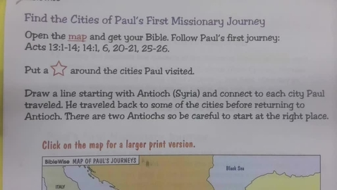 Thumbnail for entry 6th Grade Bible - Paul's Missionary Journey/ Being a Missionary - Thursday May 29