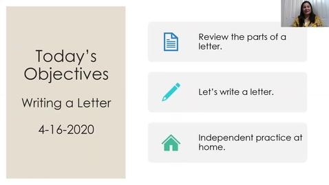 Thumbnail for entry 1st Grade Mini Writing Lesson-Friendly Letter_4/16/20