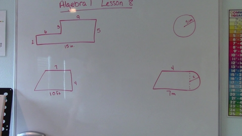 Thumbnail for entry Algebra 1 - Lesson 8 - Area
