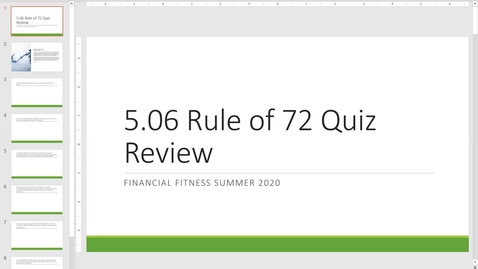 Thumbnail for entry Financial Fitness Quiz 5.06 Rule of 72 Instructional Quiz Review