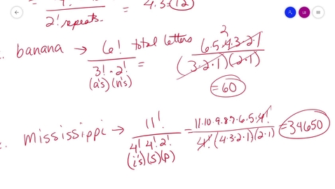 Thumbnail for entry alg2 10-5 Part1 Permutations and Combinations MrsB