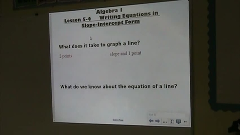 Thumbnail for entry Alg Lesson 5-4 Writing Equations in Slope-Intercept Form