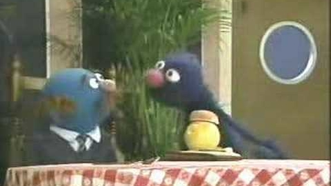"Thumbnail for entry Classic Sesame Street - Grover uses his ""waiter's memory"""