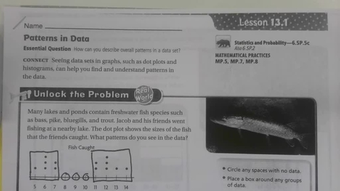 Thumbnail for entry 6th Grade Math 13.1 Patterns in Data - Friday May 8