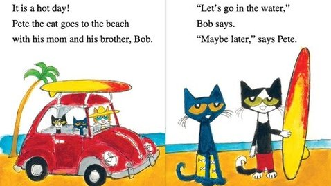 Thumbnail for entry Pete the Cat PETE AT THE BEACH Read Along Aloud Children's Kids Audio Story Book
