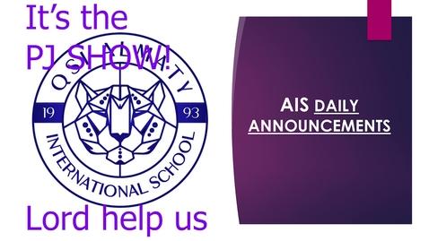 Thumbnail for entry QSI AIS Announcements March 29-April 2