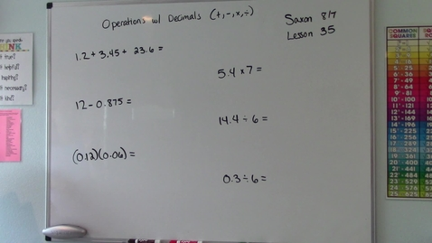 Thumbnail for entry Saxon 8/7 - Lesson 35 - Operations with Decimals